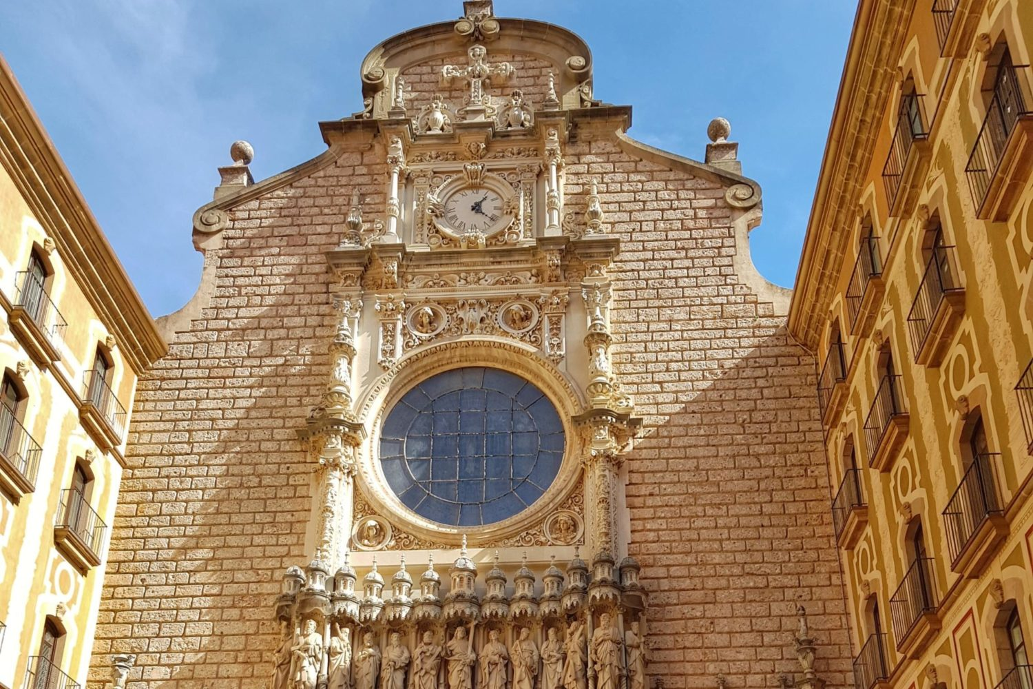 The front entrance to the Montserrat Monastery with the Saint Mary Virgin.