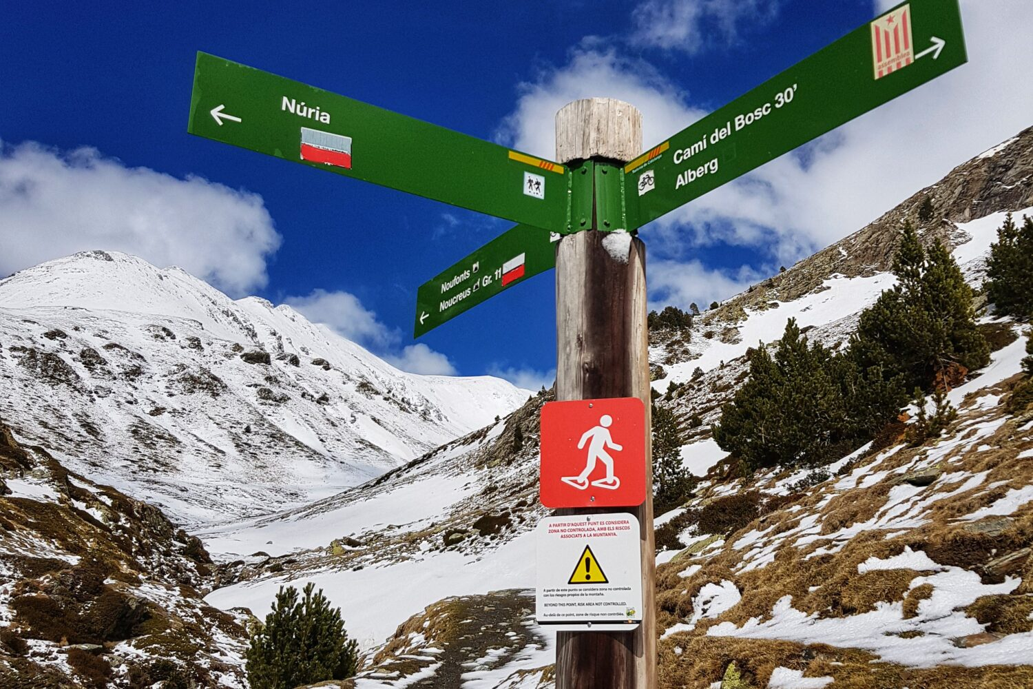 A signpost for hiking around Vall de Nuria