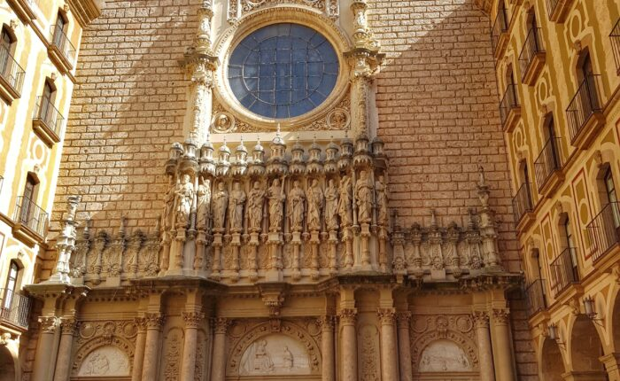 The main entrance to the Basilica of Montserrat