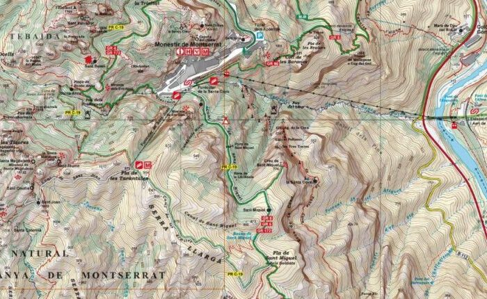 Hiking map of Montserrat