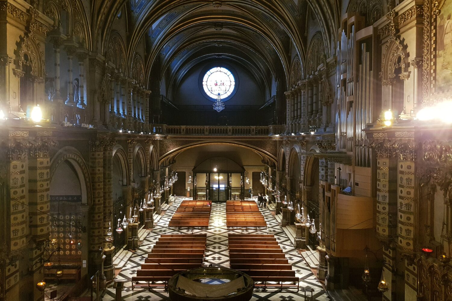 The main nave of the Montserrat Basilica